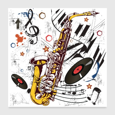 Sax Tunes - Poster - Poster 60 x 60 cm