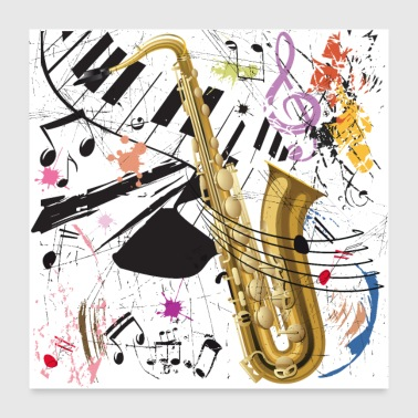 Sax in the City - Poster - Poster 24 x 24 (60x60 cm)