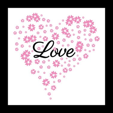 Love - Heart of flowers - Mother's Day wedding -white - Poster 24 x 24 (60x60 cm)