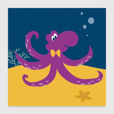 Octopus Paarse Posters Vierkant - Poster 60x60 cm