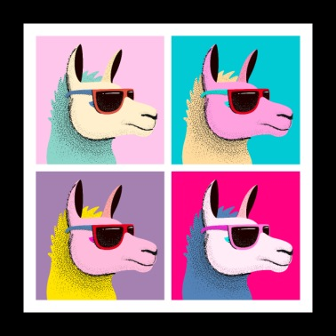 Pop Art Llama With Sunglasses - Poster 24 x 24 (60x60 cm)