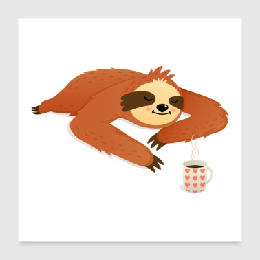 Sleeping Sloth With Coffee - Poster 60x60 cm