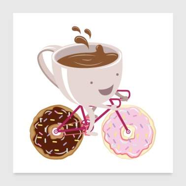 Coffee Cup Donuts Bicycle - Poster 60x60 cm