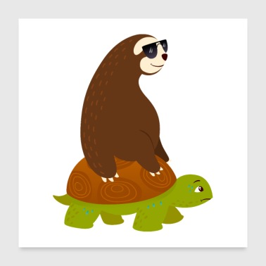 Sloth Riding On Turtle - Poster 60x60 cm