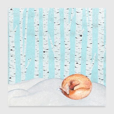 Sleeping fox in the winter forest - Poster 24 x 24 (60x60 cm)