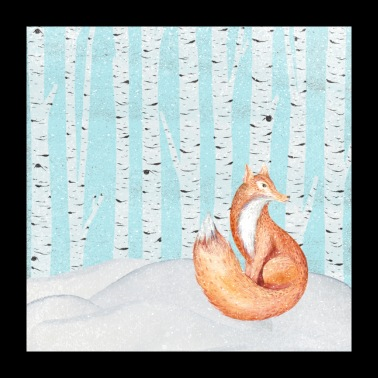 Fox in snowy winter forest - Poster 24 x 24 (60x60 cm)