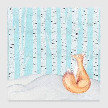 Fox in het winter forest - Poster 60x60 cm