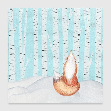 Little fox in the winter forest - Poster 24 x 24 (60x60 cm)