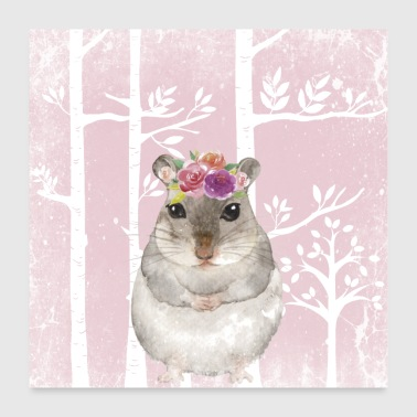Friends in the pink fairytale forest - The sweet hamster - Poster 24 x 24 (60x60 cm)
