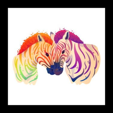 Zebra Love Couple Watercolor Painting - Poster 24 x 24 (60x60 cm)