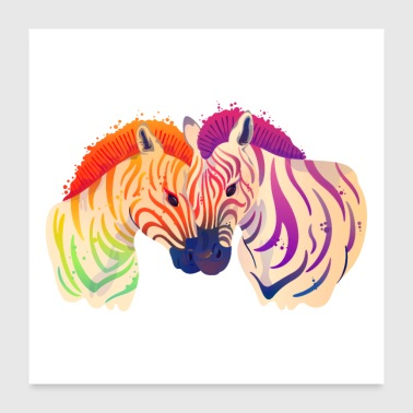 Zebra Love Couple Akvarel Maleri - Poster 60x60 cm
