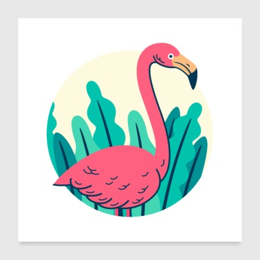 Retro flamingo design - Poster 24 x 24 (60x60 cm)
