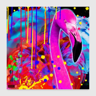 02 Flamingo Poster Kleur Crash Vogel Margarita Art - Poster 60x60 cm