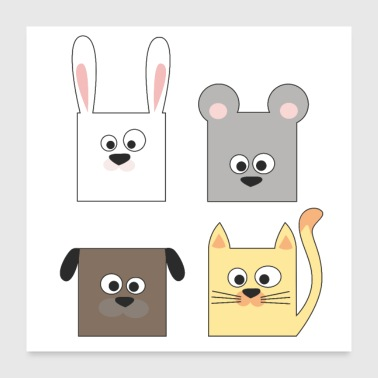 Dog cat mouse bunny - Poster 24 x 24 (60x60 cm)