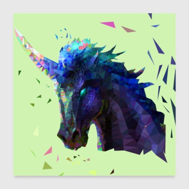 Low Poly Einhorn Design - Poster 60x60 cm
