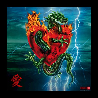 06 Dragon Passion Love Heart Poster Margarita Art - Poster 24 x 24 (60x60 cm)