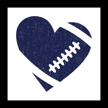 AMERIKANSKE FOOTBALL HEART - Poster 60x60 cm