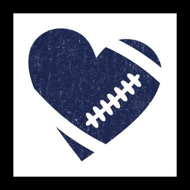 AMERICAN FOOTBALL HEART - Poster 24 x 24 (60x60 cm)