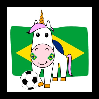 Unicorn Violetta plays football for Brazil - Poster 24 x 24 (60x60 cm)