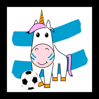 Unicorn Violetta plays football for Argentina - Poster 24 x 24 (60x60 cm)