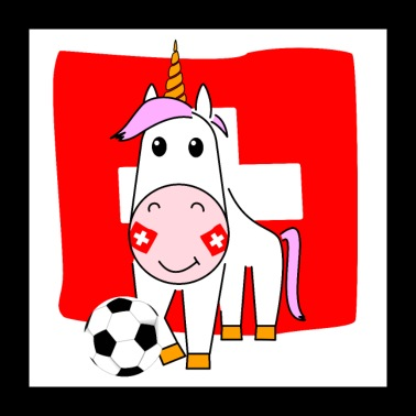 Unicorn Violetta plays football for Switzerland - Poster 24 x 24 (60x60 cm)