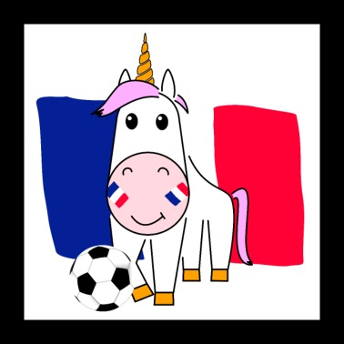 Unicorn Violetta plays football for France - Poster 24 x 24 (60x60 cm)