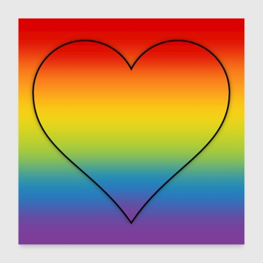 Poster rainbow heart LGBT CSD gradient colorful - Poster 24 x 24 (60x60 cm)