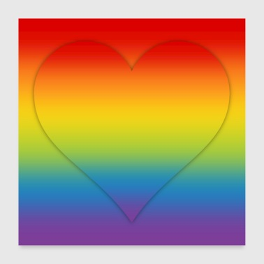 Poster rainbow heart LGBT CSD colorful gradient - Poster 24 x 24 (60x60 cm)