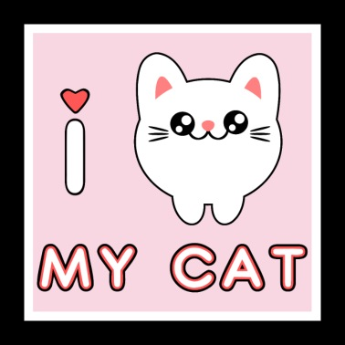 Mignon chaton adorable chaton kawaii - Poster 60 x 60 cm