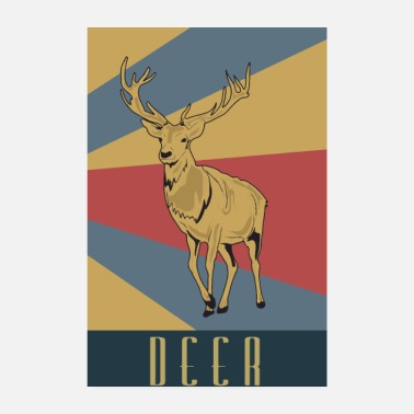 Old School Cerf old school rétro animal - Poster