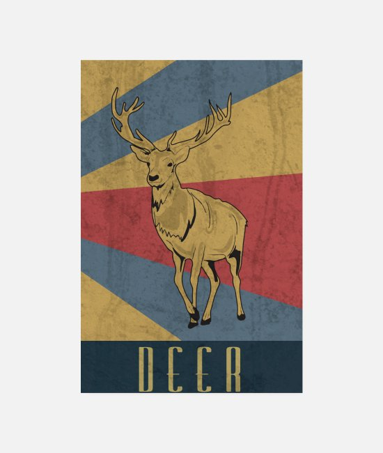 Stag Posters - Deer antler hunter forest hunting gift - Posters white