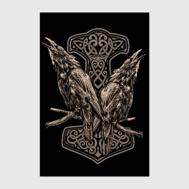 HUGIN AND MUNIN AND A THORHAMMER - Poster 8 x 12