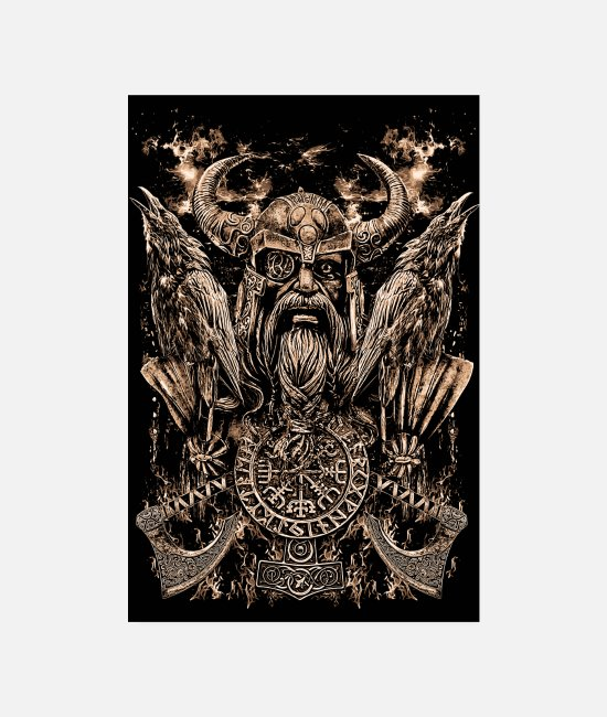 Viking Posters - PORTRAIT ODIN - Posters blanc