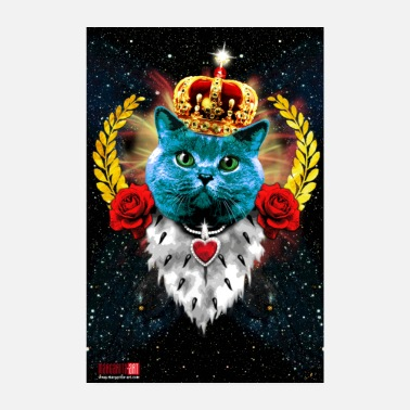 Glamour 12 Blue Cat King Art Blue Cat King Crown - Poster 8 x 12