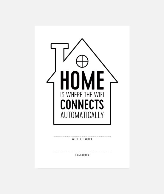 Typografie Poster - Home is Where WiFi Connects Automatically - Poster Weiß