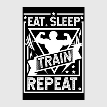 Squat Eat Sleep Train Repeat Poster - Poster 8 x 12