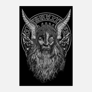 Viking ODIN PORTRAIT MED HUGIN OG MUNIN - Poster
