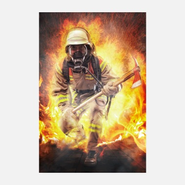 Fire Firefighters - heroes walking through the fire Poster - Poster 8 x 12