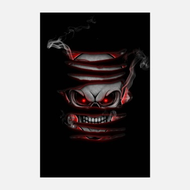 Smoking Skull with smoke poster red - Poster 8 x 12