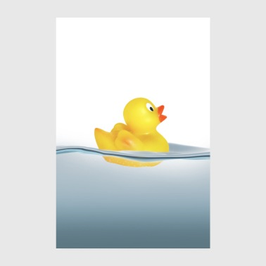 Duck in the water. Bath, swimming - Poster 8 x 12