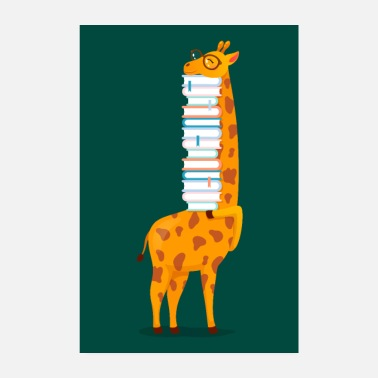 Giraffe With Books - Poster