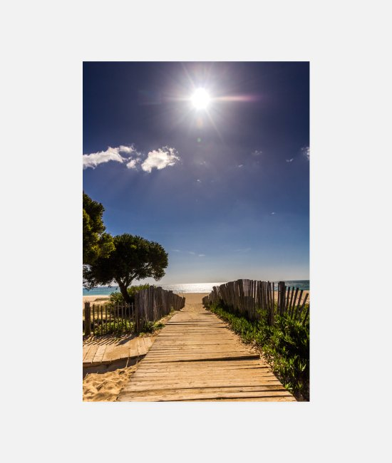 Relax Posters - Beach Portugal footbridge sea sun vacation Algarve - Posters white