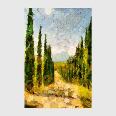 Rural landscape with cypresses - Poster 8 x 12