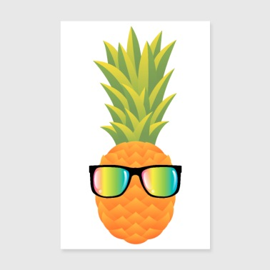 Pineapple With Rainbow Sunglasses - Poster 8 x 12
