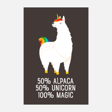 Trend 50% Alpaca, 50% Unicorn, 100% Magic - Poster