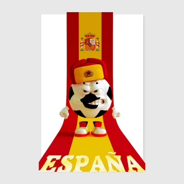 Spain soccer ball cap russian spanish flag - Poster 8 x 12