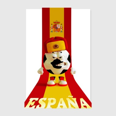 Spanje voetbal bal GLB Russische Spaanse vlag - Poster 20x30 cm