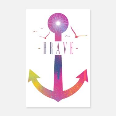 Bewegen Brave - Colorful Anchor - Poster 20x30 cm