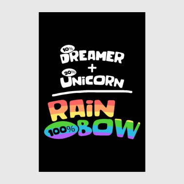 Adult Dreamer and unicorn alike rainbow - Poster 8 x 12