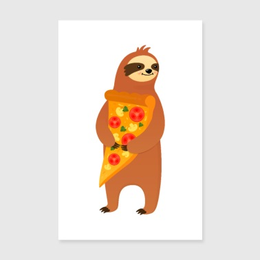 Pizza Sloth With Pizza - Poster 8 x 12